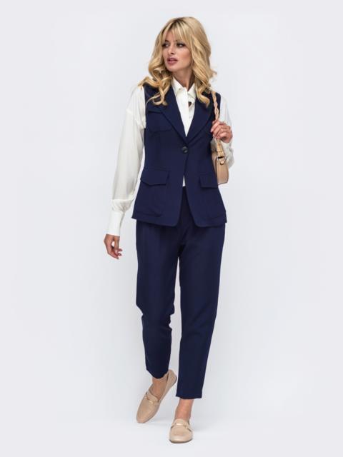 Комплект тёмно-синего цвета из жилета с карманами и брюк 50172, фото 1