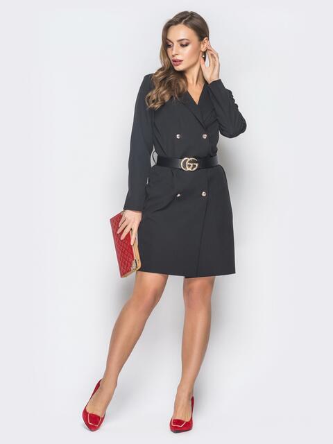 Платье-пиджак черного цвета с лацканами - 19007, фото 1 – интернет-магазин Dressa