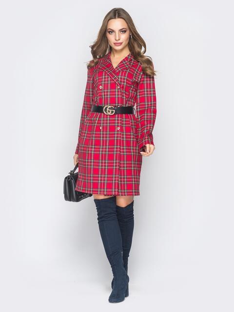 Платье-пиджак красного цвета в клетку - 19009, фото 1 – интернет-магазин Dressa