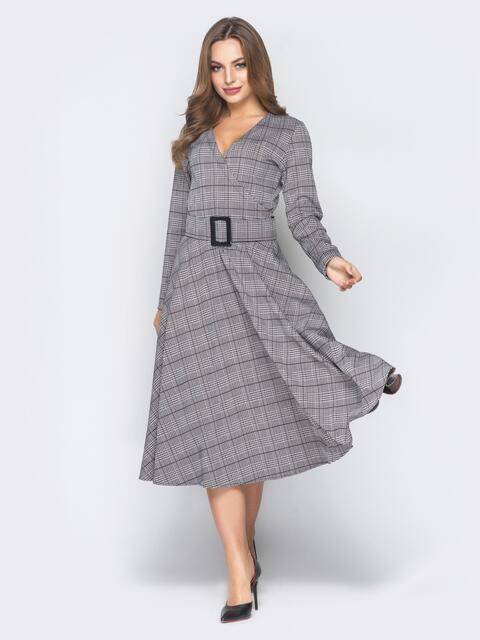 Светло-серое платье в клетку с расклешенной юбкой - 19015, фото 1 – интернет-магазин Dressa