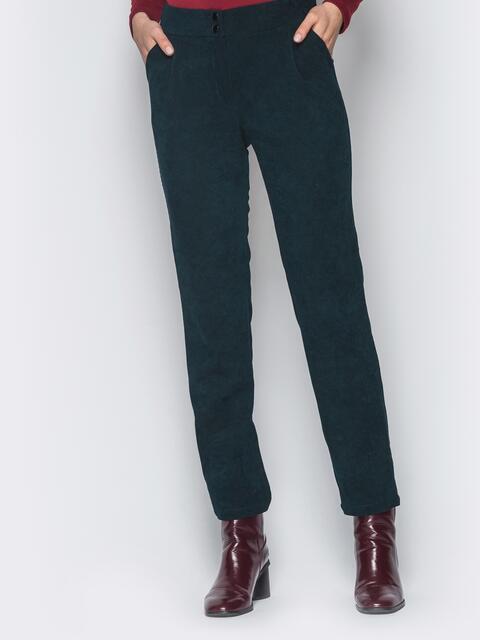 Укороченные брюки из вельвета тёмно-зелёные - 18739, фото 1 – интернет-магазин Dressa