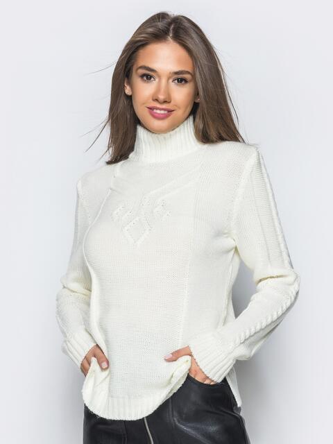 Вязаный свитер белого цвета с высоким воротником - 17082, фото 1 – интернет-магазин Dressa