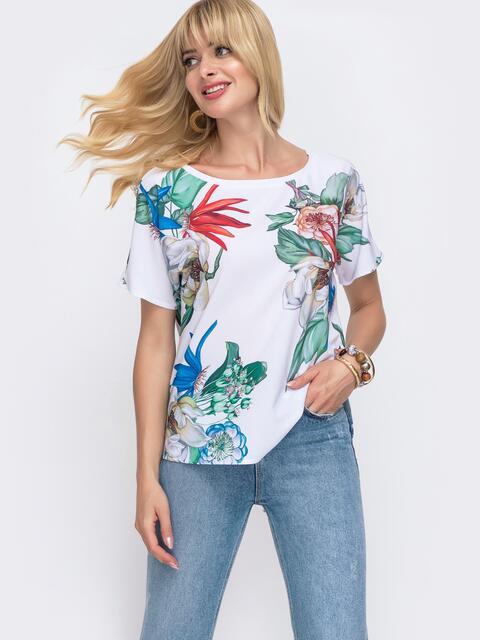 Белая блузка свободного кроя с принтом - 49318, фото 1 – интернет-магазин Dressa