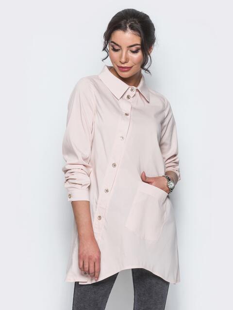 Бежевая рубашка с ассиметричной планкой-застежкой - 12917, фото 1 – интернет-магазин Dressa