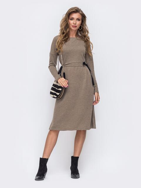Бежевое платье-миди с разрезами по бокам 50616, фото 1
