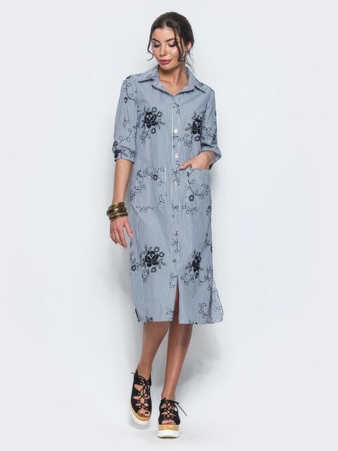 Хлопковое серое платье-рубашка с вышивкой - 12535, фото 1 – интернет-магазин Dressa