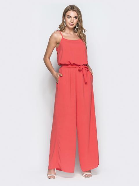 Комбинезон с брюками-палаццо и напуском по талии розовый - 38757, фото 1 – интернет-магазин Dressa