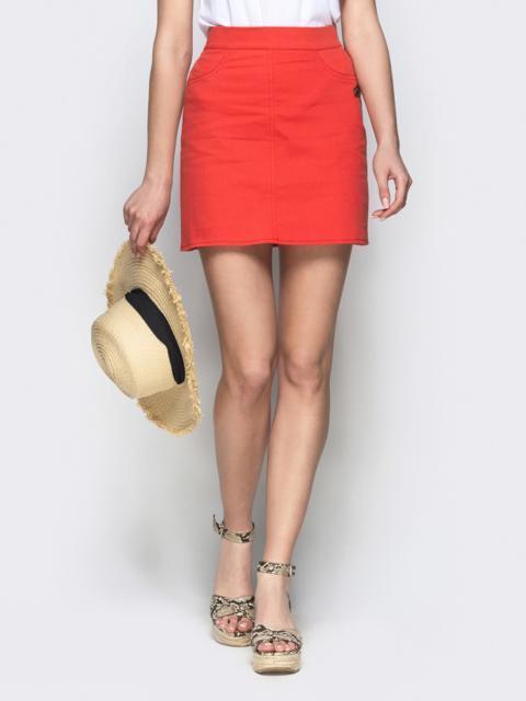 Коттоновая юбка-мини красного цвета - 22045, фото 1 – интернет-магазин Dressa