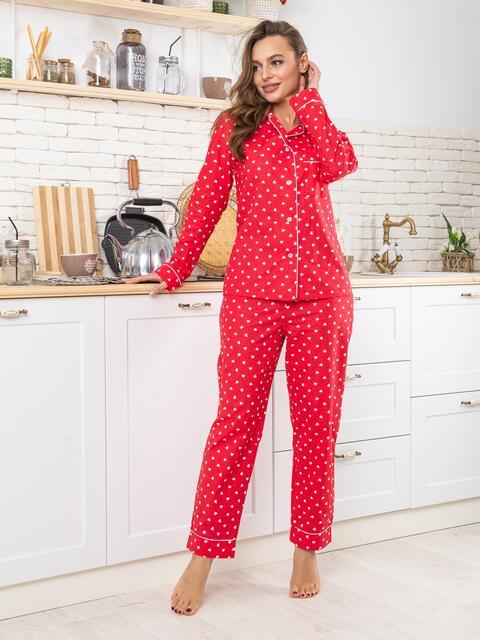 Красная хлопковая пижама с принтом на рубашке и брюках - 20684, фото 1 – интернет-магазин Dressa