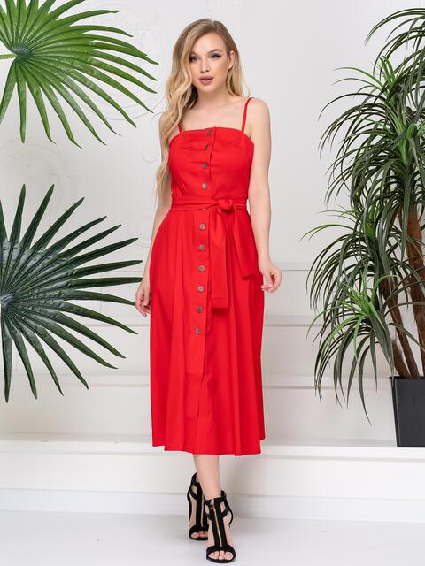 Красный сарафан приталеного силуэта с поясом 48763, фото 1