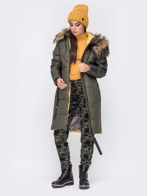 Куртка с вшитым капюшоном и репсовой лентой хаки - 41244, фото 1 – интернет-магазин Dressa
