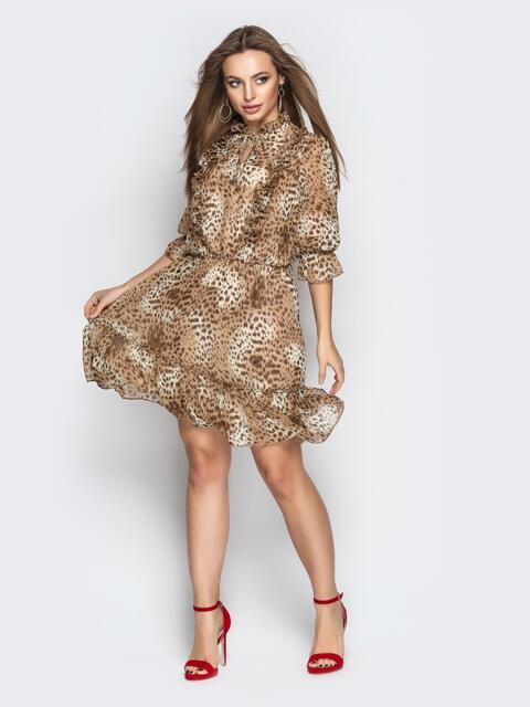 Леопардовое платье с оборкой и резинкой по талии - 21101, фото 1 – интернет-магазин Dressa