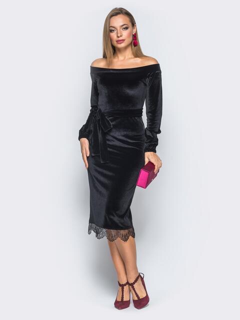 Платье черного цвета из велюра с открытыми плечами - 18135, фото 1 – интернет-магазин Dressa