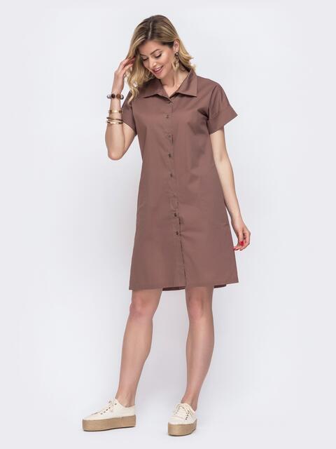 Платье-рубашка из хлопка коричневого цвета 48516, фото 1