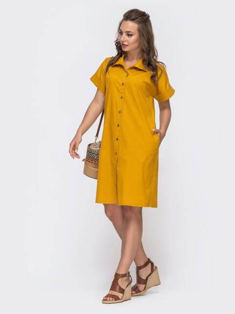 Платье-рубашка из хлопка желтого цвета 48517, фото 1