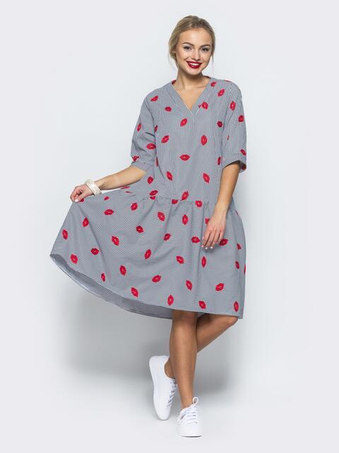 Платье-рубашка с вышивкой и воланом по низу серое - 12531, фото 1 – интернет-магазин Dressa