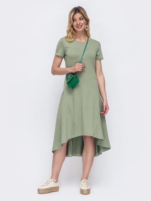 Приталенное платье с удлиненной спинкой зеленое 48514, фото 1