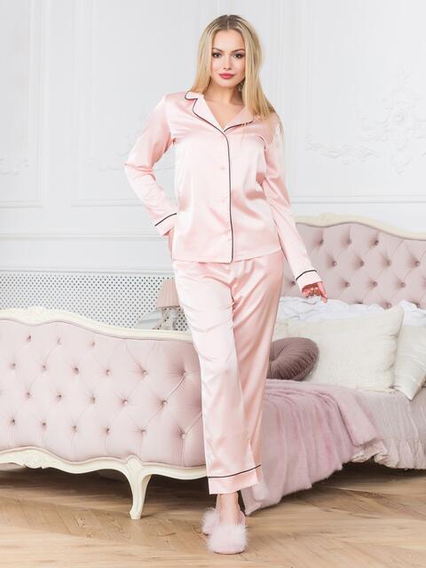 Розовая пижама с окантовкой на рубашке и брюках - 18941, фото 1 – интернет-магазин Dressa