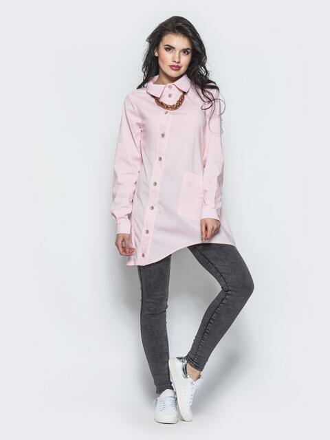 Розовая рубашка с ассиметричной планкой-застежкой - 12916, фото 1 – интернет-магазин Dressa