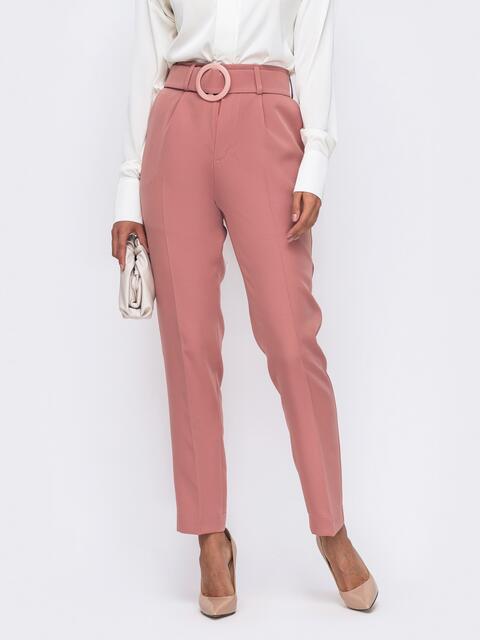 Розовые брюки с высокой посадкой и поясом в комплекте  50084, фото 1