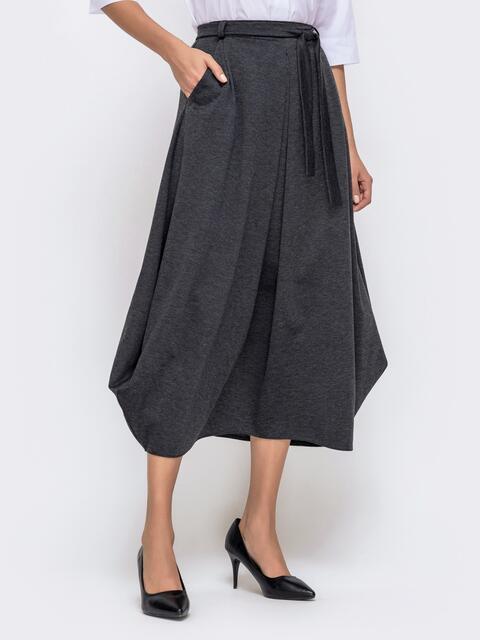 Серая юбка-миди зауженная к низу 40768, фото 1