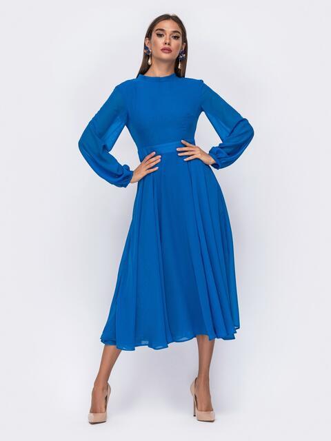 Синее платье с открытой спинкой и юбкой-солнце - 50088, фото 1 – интернет-магазин Dressa