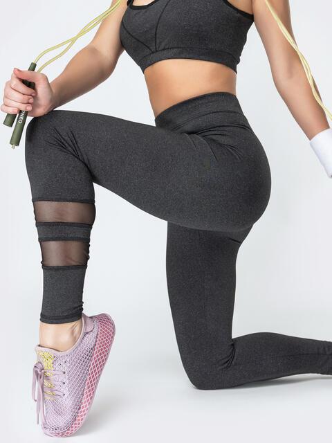 Спортивные лосины со вставками из сетки графитовые - 44622, фото 1 – интернет-магазин Dressa