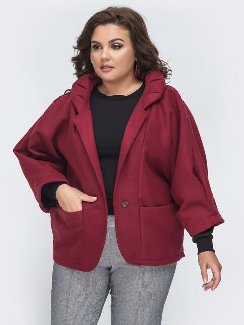 Укороченное пальто большого размера бордового 45374, фото 1