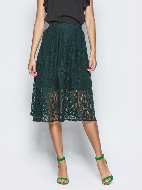 Зеленая гипюровая юбка-миди - 12881, фото 1 – интернет-магазин Dressa