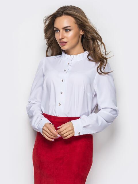 Белая шелковая блузка с функциональными пуговицами - 12285, фото 1 – интернет-магазин Dressa