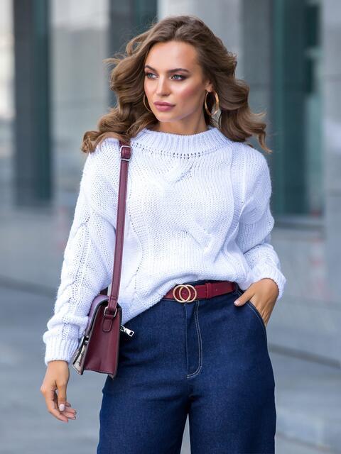 Белый свитер с ажурной вязкой и резинкой по низу - 41056, фото 1 – интернет-магазин Dressa