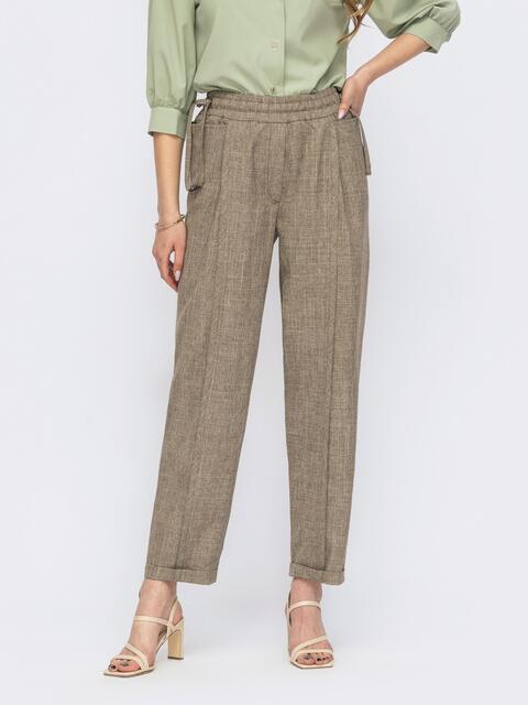 Бежевые брюки прямого кроя на резинке 53744, фото 1