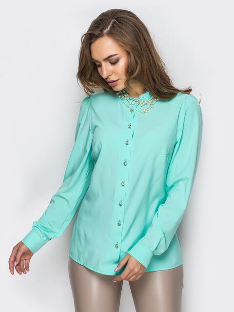 Бирюзовая шелковая блузка с функциональными пуговицами - 12288, фото 1 – интернет-магазин Dressa