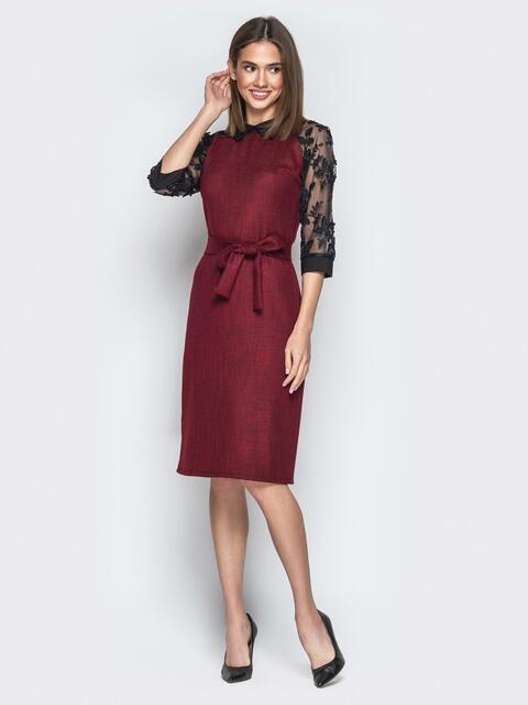 Бордовое платье с контрастными рукавами-реглан из органзы - 20958, фото 1 – интернет-магазин Dressa