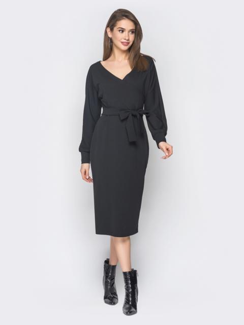 Черное платье с фиксированным запахом и поясом в комплекте - 18758, фото 1 – интернет-магазин Dressa