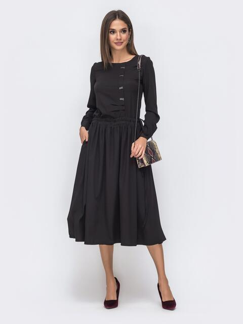Чёрное платье с кулиской по талии и расклешенной юбкой 41493, фото 1