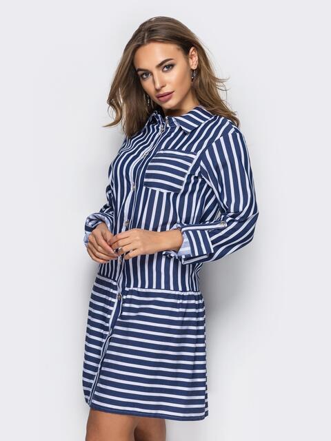 2228235ba93 Хлопковое платье-рубашка в полоску с карманами тёмно-синее 13588 ...