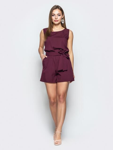 Монохромный комбинезон с вырезом по спине бордовый - 21501, фото 1 – интернет-магазин Dressa