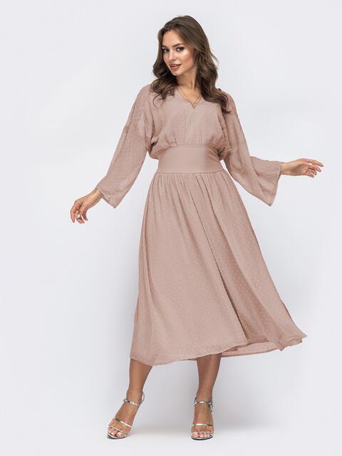 """Платье с рукавом """"летучая мышь"""" и расклешенной юбкой бежевое - 48899, фото 1 – интернет-магазин Dressa"""