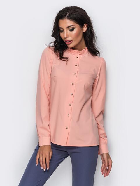 Розовая шелковая блузка с функциональными пуговицами - 12286, фото 1 – интернет-магазин Dressa