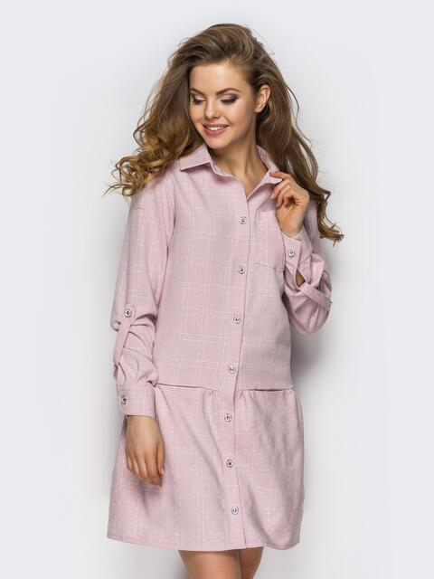Розовое платье-рубашка со шлевками на рукавах - 13591, фото 1 – интернет-магазин Dressa