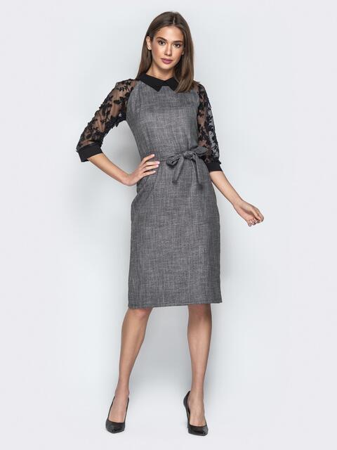 0abcf034ad1 Серое платье с контрастными рукавами-реглан из органзы - 20959