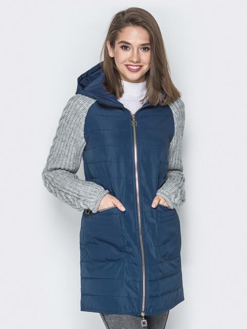 Синяя куртка с вязаными рукавами и вшитым капюшоном - 20713, фото 1 – интернет-магазин Dressa