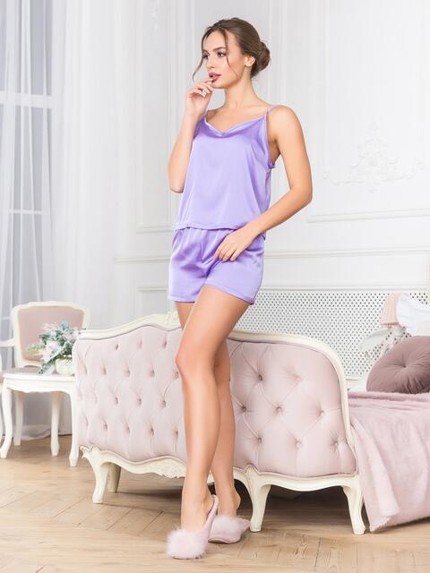 Сиреневая пижама с топом и шортами - 18913, фото 1 – интернет-магазин Dressa