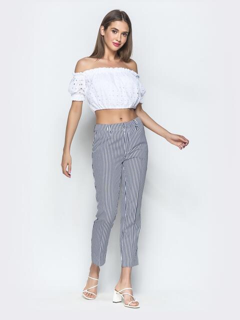 Укороченные брюки в полоску чёрные - 39520, фото 1 – интернет-магазин Dressa