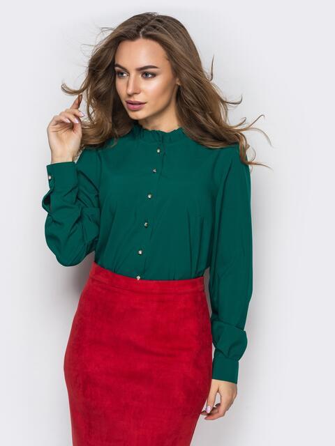 Зелёная шелковая блузка с функциональными пуговицами - 12287, фото 1 – интернет-магазин Dressa
