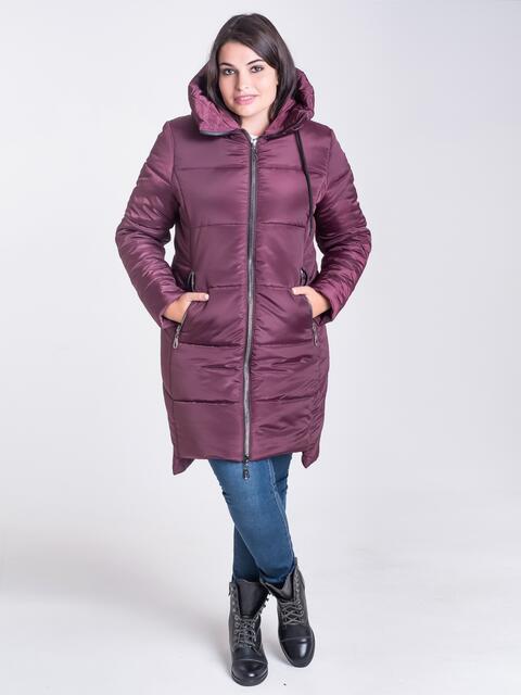 Зимняя куртка бордового цвета из плащевки с капюшоном - 17715, фото 1 – интернет-магазин Dressa