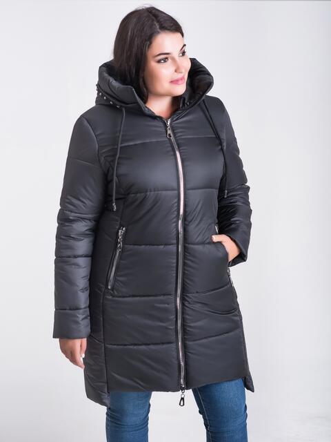 Зимняя куртка черного цвета из плащевки с капюшоном - 17717, фото 1 – интернет-магазин Dressa