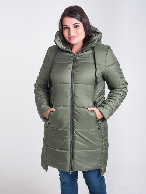 Зимняя куртка цвета хаки из плащёвки с капюшоном - 17716, фото 1 – интернет-магазин Dressa