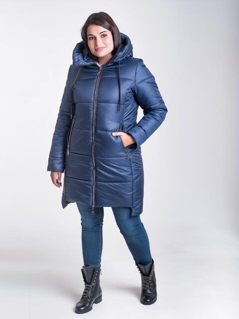 Зимняя куртка тёмно-синего цвета из плащевки с капюшоном - 17714, фото 1 – интернет-магазин Dressa